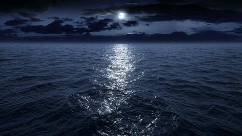 Flying over the ocean at night. Facing the moon. Full HD Animation