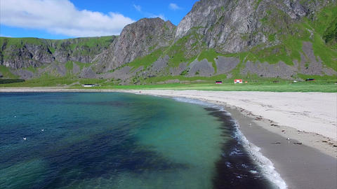 Flying above beach on Lofoten islands, Norway Footage