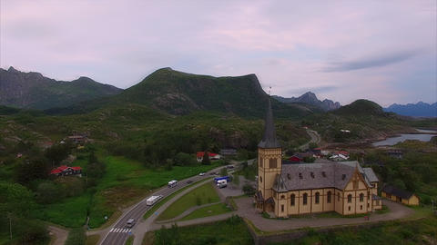Lofoten cathedral in Norway Footage