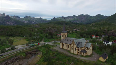 Vagan church on Lofoten islands in Norway Footage
