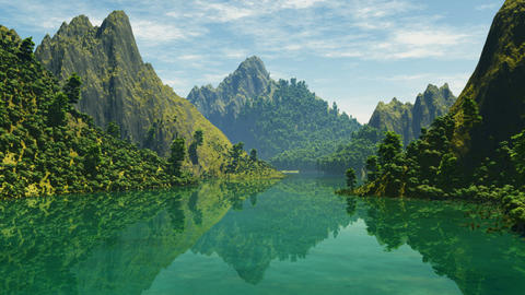 mountain lake in Alps Animation