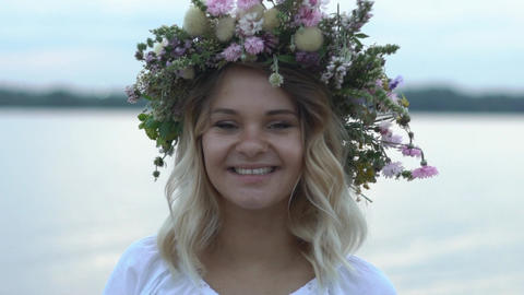 Footage Girl In Wreaths Of Flowers Slow Motion Footage