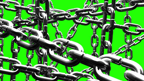 Silver Chains Abstract On Green Chroma Key Animation