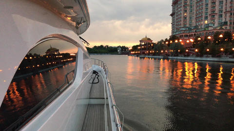 Evening walk on a yacht Image