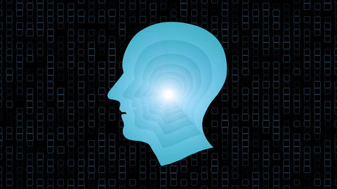 Brain works, Artificial intelligence (AI) and High Tech Concept. Human and conce Animación