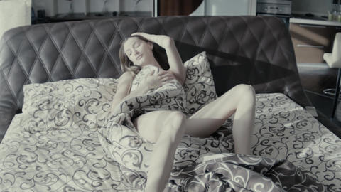 Slow Motion Beautiful Lingerie Woman Flirting On Bed Slow Motion Footage