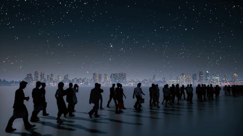 Unrecognizable business people crowd walking at night city Animation