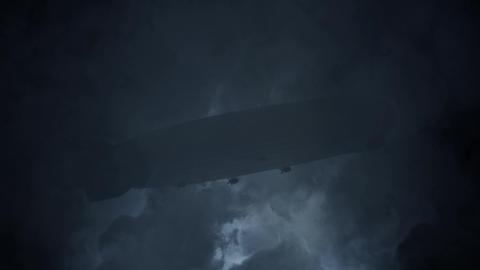 Zeppelin Flying Under Rain and Lightning Storm Image