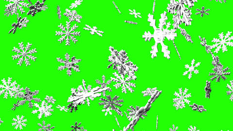 Snow Crystals On Green Chroma Key Animation