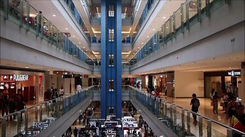 Stores and shops inside the SM Megamall in Mandaluyong City, Philippines Live Action