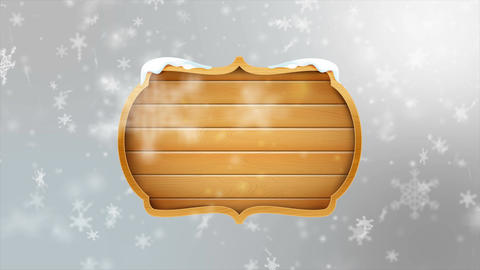 4K Blank wooden board sign with falling snowflake over gray abstract background  Footage