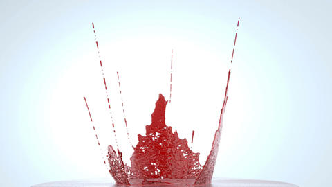 Blood or wine splashes with slow motion. Alpha. 3d render, animation Animación
