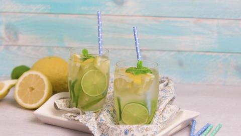 Summer citrus fruits drink Footage