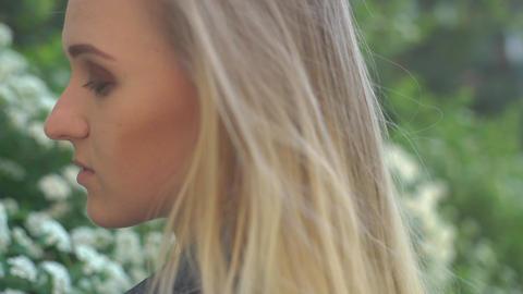 4K Closeup Girl In Skirt Walk In White Bluet Bloom Flowers Field Footage