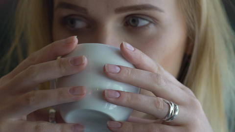 Close Up Of Woman Drinking Coffee, Super Slow Motion Footage