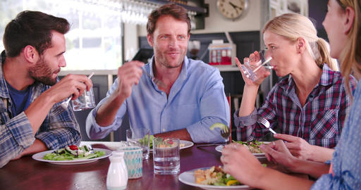 Group Of Friends Enjoying Meal In Restaurant Together Footage