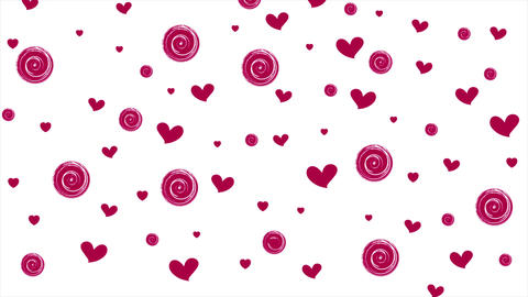 Pink purple hearts and circles on white background Animation