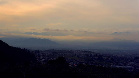Cloudy morning, Nagano-City, JAPAN, time-lapse Live Action