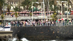 Portugal Madeira island quay wall of funchal city waterfront promenade Footage