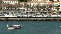Portugal Madeira island marina of funchal & city behind quay wall Footage
