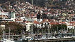 Portugal Madeira island Funchal marina and cityscape seen from seaside Footage