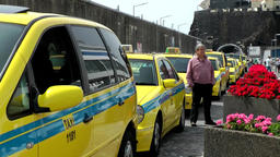 Portugal Madeira island long row of yellow taxis on Funchal quay wall Footage