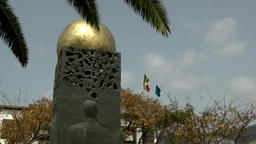 Portugal Madeira island memorial with golden sphere at Funchal promenade 画像