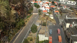 Portugal Madeira island Madeiran homes seen from cable railway to Monte Footage