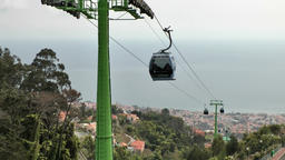 Portugal Madeira cabins of cable railway from Funchal to Monte Archivo
