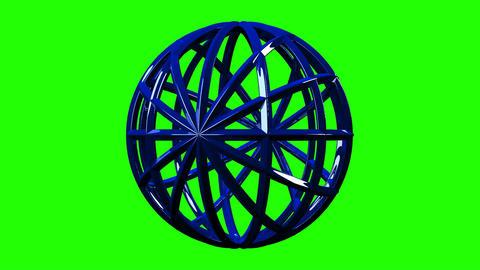 Blue Circle Abstract On Green Chroma Key Animation
