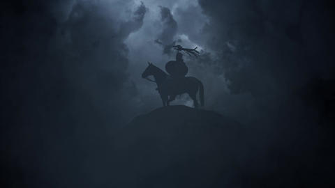 Roman Soldier Seating on a Horse on a Stormy Day Image
