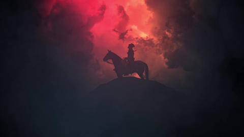 Napoleon Seating on a Horse on a Hill on a Stormy Day Image