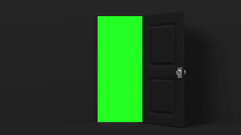 Black Door With Green Chroma Key Animation