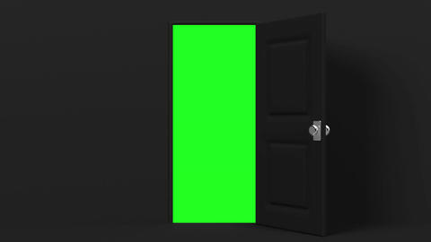 Black Door With Green Chroma Key CG動画