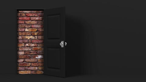 Black Door With Text Space And Wall Animation