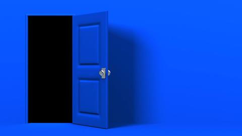 Blue Door With Text Space And Dark Room CG動画