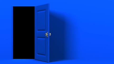 Blue Door With Text Space And Dark Room Animation