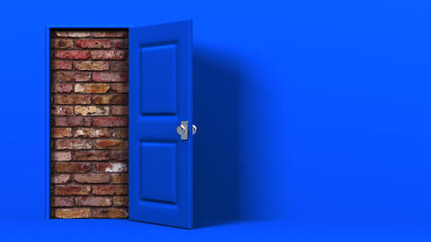Blue Door With Text Space And Wall Animation