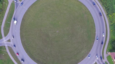 Aerial shot of a roundabout Filmmaterial
