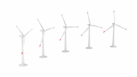 Group of wind turbines Animation