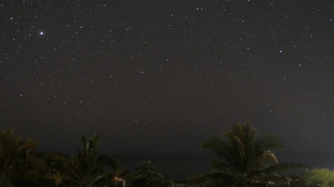 Time lapse of the night sky overlooking the Pacific Ocean near Manzanillo Mexico Footage
