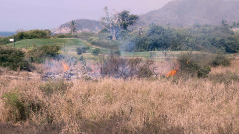 A field of dry grass, bushes, and shrubs burn next to a golf course with visible Footage