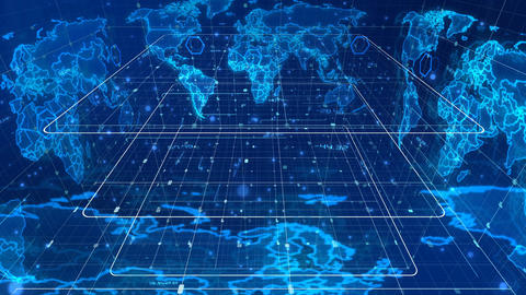 Futuristic news map revolving around in a cube Stock Video Footage