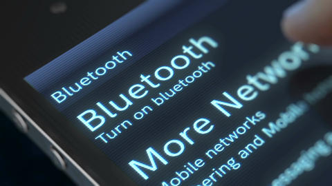 Finger touches down the Bluetooth icon Animation