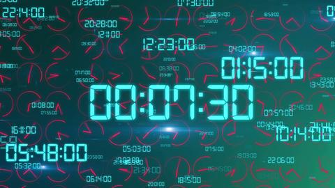 Dashing decimal digits and clock arrows turning Animation