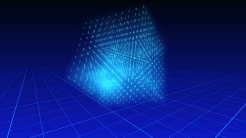 3d cube of binary digits rotating on a blue background over a grid plane Animation