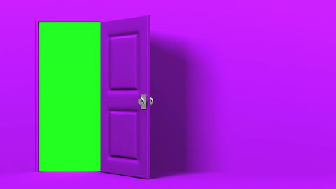 Purple Door With Text Space And Green Chroma Key Animation