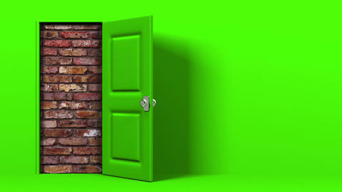 Green Door With Text Space And Wall Animation