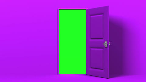 Purple Door And Green Chroma Key Animation