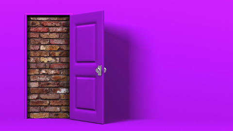 Purple Door With Text Space And Wall Animation